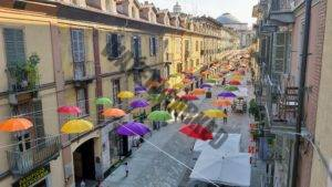 Via Monferrato with umbrellas from above
