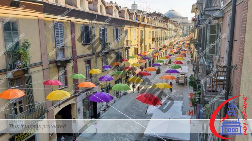 Via Monferrato with umbrellas from above